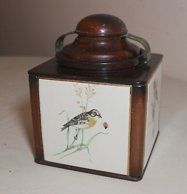 rare antique signed Dunhill hand painted porcelain wood tobacco jar humidor box