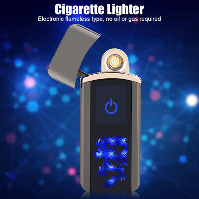 USB Electric Arc Flameless Torch Rechargeable Windproof Cigarette Lighter Black