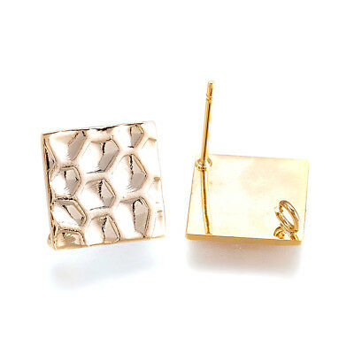 20pcs Gold Plated Bumpy Brass Earring Posts Rhombus Stud Loop Nickel Free 16.5mm