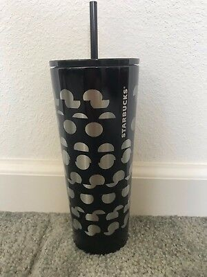 NEW Starbucks Black Silver Dot 24 oz Stainless Steel Cold Cup Straw Tumbler 2018