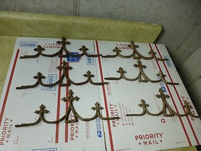 Lot of 6 Antique Ornate Wrought Iron Fence / Gates Toppers Crosses