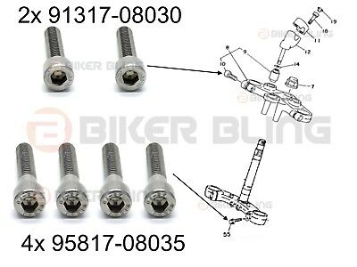 6x Yamaha TDM850 1991-1995 stainless steel top bottom yoke pinch bolts