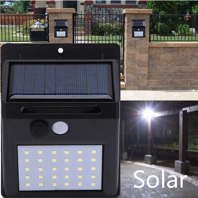 30 LED Solar Power Motion Sensor LED Outdoor Wall Security Waterproof Deck Light