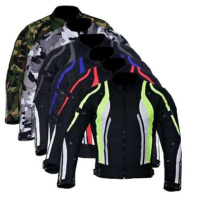 New Men's Motorcycle Motorbike Jacket Waterproof Textile With CE Armoured