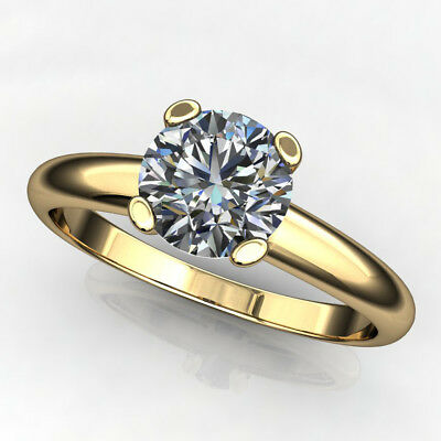 2Ct Round-Cut Forever Moissanite Solitaire Engagement Ring 14k Yellow Gold Over