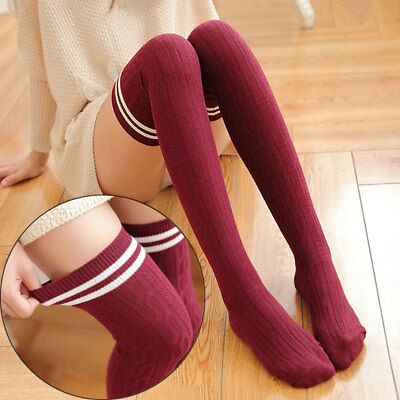 Fashion Cotton Sexy Striped High Over The Knee Socks Long Stockings For Girls