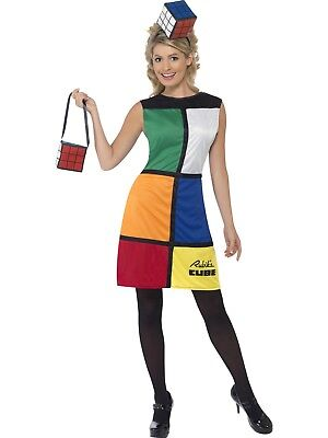 Ladies 80's Rubik's Cube Fancy Dress Rubix Cube Costume