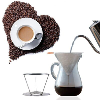Coffee Filter Reusable Mesh Tea Pour Over Cone Dripper Cup Stand Stainless Steel