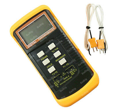 NEW Dual channel K Type Digital Thermocouple Thermometer+ 2 sensors & probe