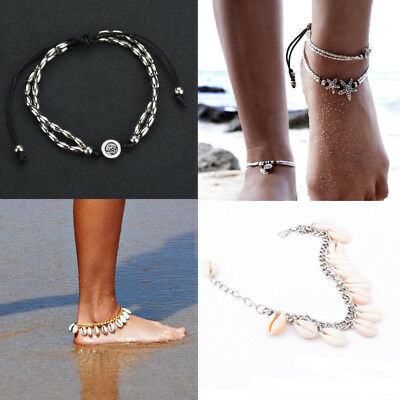 Boho Vintage Fashion Shell Starfish Anklet Ankle Bracelet Beach Foot Jewellery