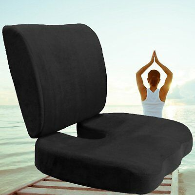 Memory Foam Coccyx Orthoped Seat Cushion Back Support Lumbar Pain Relief Pillow@