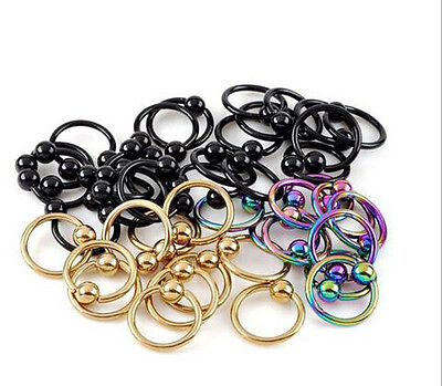 5Pcs Punk Stainless Steel Body Piercing Ear Hoop Ring Ball Closure Lip Ear Nose