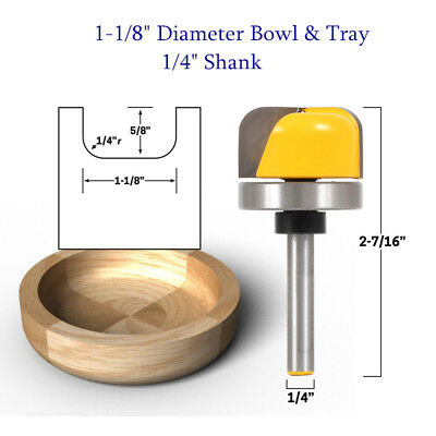 """Tideway Carbide Professional LC05010704 7//16/"""" Bowl /& Tray 1//4/"""" shank router bit"""