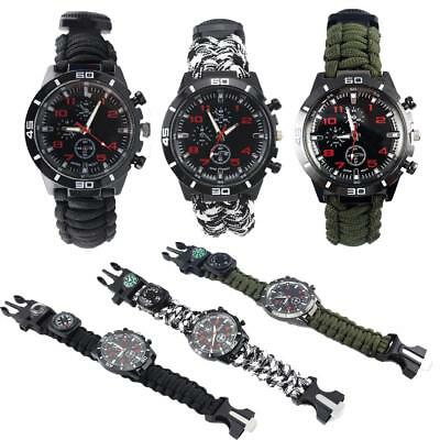 Outdoor Paracord Survival Watch Bracelet With Flint Fire Starter Compass Whistle