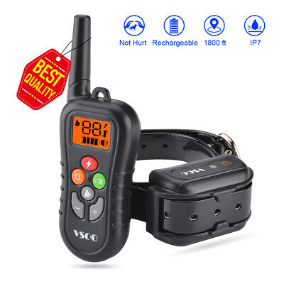 Dog Shock Training Collar Rechargeable LED Remote Control Waterproof 600 Yards