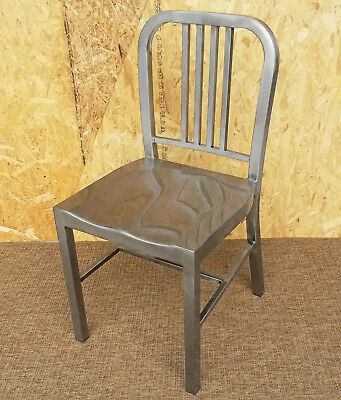New Emeco Brushed Steel Metal Us Navy Retro Chair Bistro Bar Cafe Silver