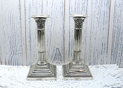 Victorian silver plated candlesticks by R F Mosley, pair silver plate Corinthian