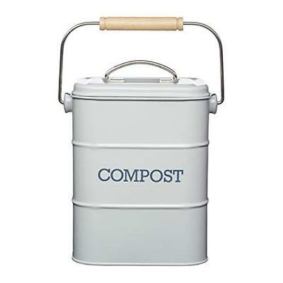 KitchenCraft Living Nostalgia Metal Kitchen Compost Bin, 16 x 12 x 24 cm - Frenc