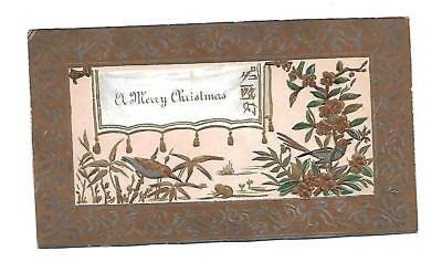 A Merry Christmas Gold Ornate Birds Vict Card c 1880s