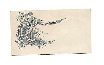 Happy New Year Angel Flying Banner Vict Card c1880s