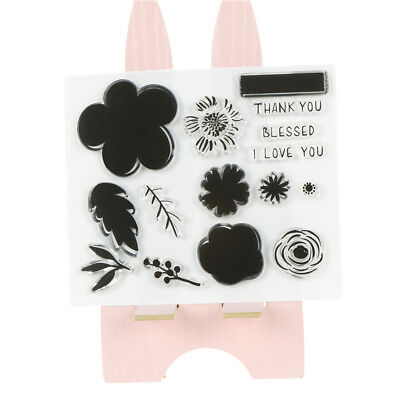 Flower Silicone Clear Stamp Transparent Rubber Stamps Diy Scrapbooking Craft w/
