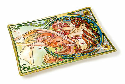 Dance Lady Flowers Plate Tray Amia Stained Glass  6 X 8 Rectangle   42721