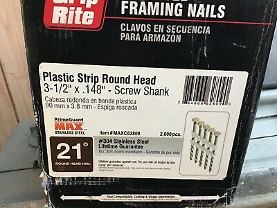 "1,000 GRIP RITE 3-1/2"" STAINLESS STEEL PLASTIC STRIP FRAMING NAILS 21 degree"