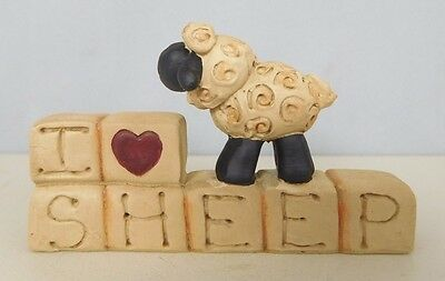 I Love Sheep - New resin block with a small lamb on top by Blossom Bucket #27518