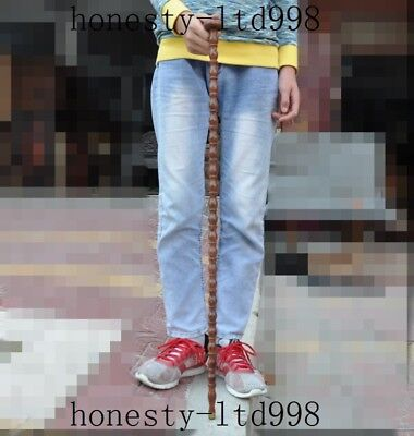 """35""""Antique Old Chinese Huanghuali Wood Walking stick crutch Crutches cane statue"""