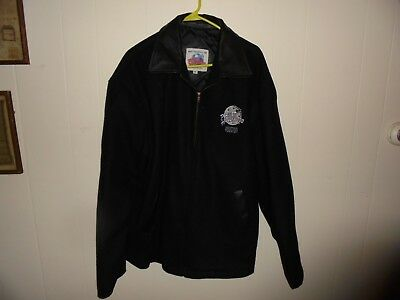 Jacket Planet Hollywood Houston Black Wool Leather Collar Quilt Lining USA