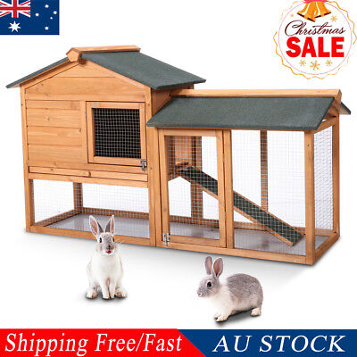 2-Storey Wooden Bunny Hutch Chicken In/Outdoor Pet House Rabbit Tractor Shelter