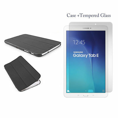 "Samsung Galaxy Tab A 9.7"" T550 T555 Stand Slim Smart Case Cover + Tempered Glass"