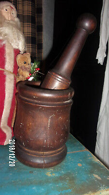 Antique Old 19th Century Early American Primitive Wood Mortar Pestle Apothecary