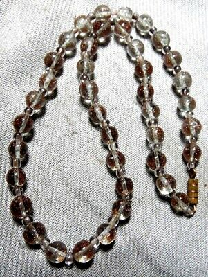 Vintage Stunning Aventurine Gold Foil Art Murano Clear Glass Necklace