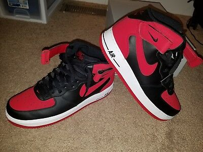 NIKE AIR FORCE 1 Mid  07 Black   Gym Red   White Size 10 Mens ... ede61e9aa5