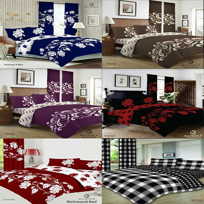 King Size 4 Pcs Complete Bedding Set  Duvet Cover Fitted Sheet 2 Pillow Cases.