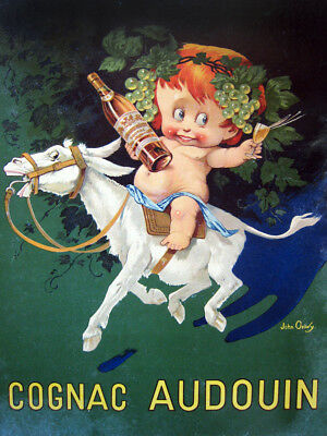 7956.Decorative Poster.Home room design decor.Red head baby on donkey.Cognac.Bar
