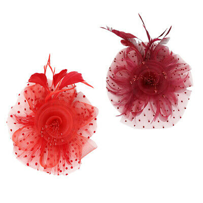 2x Hochzeit Feder Fascinator Stirnband Pillbox Hüte Race Headpiece 20er