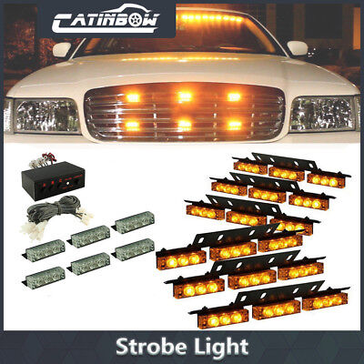 54 LED Amber Emergency Warning Strobe Lights Bars Car Dash Grille Tow Yellow