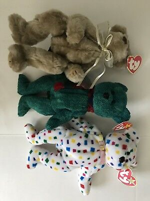 Ty Beanie Babies Lot of 3 Ty2K Wallace Beverly Bears Green Brown Confetti