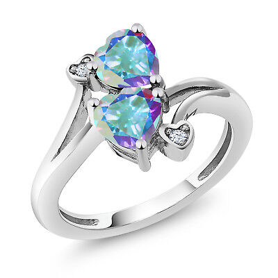 1.93 Ct Heart Shape Mercury Mist Mystic Topaz 925 Sterling Silver Ring