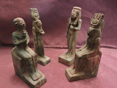 Ancient Egyptian Antiques Rare 4 Amulets Egypt Faience Stone BC