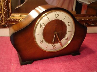 Superb EnglishVintage Mahogany Cased Striking mantel clock. Mint Condition.