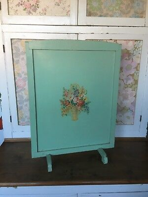 Vintage Painted Wooden Firescreen With Floral Motif