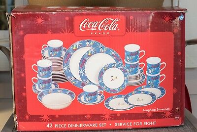 Coca Cola Coke 42 Piece Dinnerware Set Service For Eight Laughing Snowman NEW
