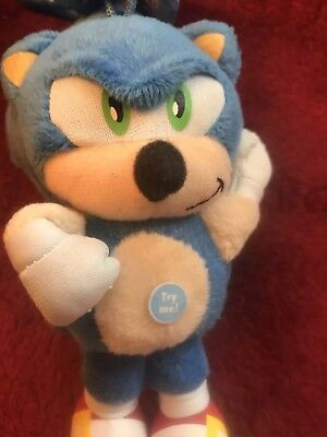 Sonic The Hedgehog Blue Plush Doll ~Key Chain  Clip On ~With Sound And Tags