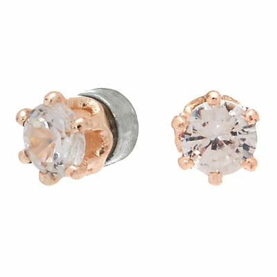 faaad8159853e2 Claire's Girl's Rose Gold Cubic Zirconia 3MM Round Magnetic Stud Earrings