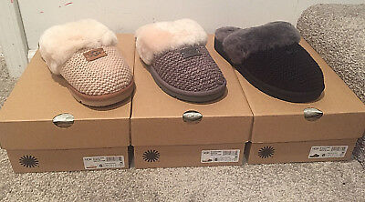 e3d4d6e8c57 UGG COZY KNIT Slipper Charcoal Cream #1095116 NIB SIZE 10 Only! Last Two  Pairs!