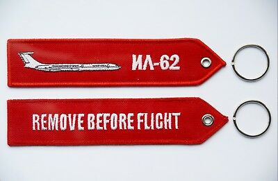 Ilyushin Il-62 Classic Remove Before Flight embroidered key ring