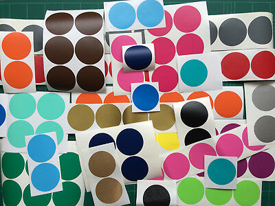 100x 25mm Coloured DOT STICKERS Round Sticky Adhesive Spot Circles VINYL Labels